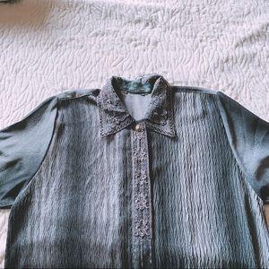 Vintage Ombré Button Up Blouse with Lace